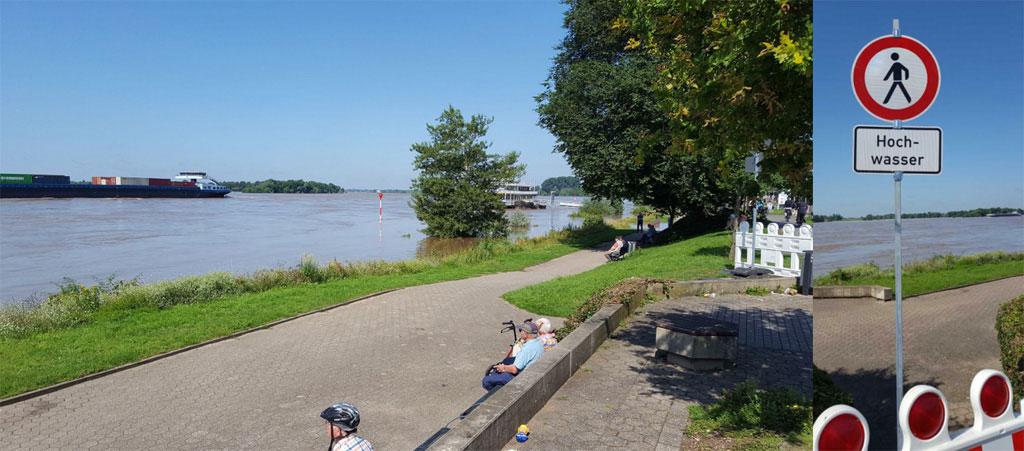 Hochwasser Wesel Rheinpromenade