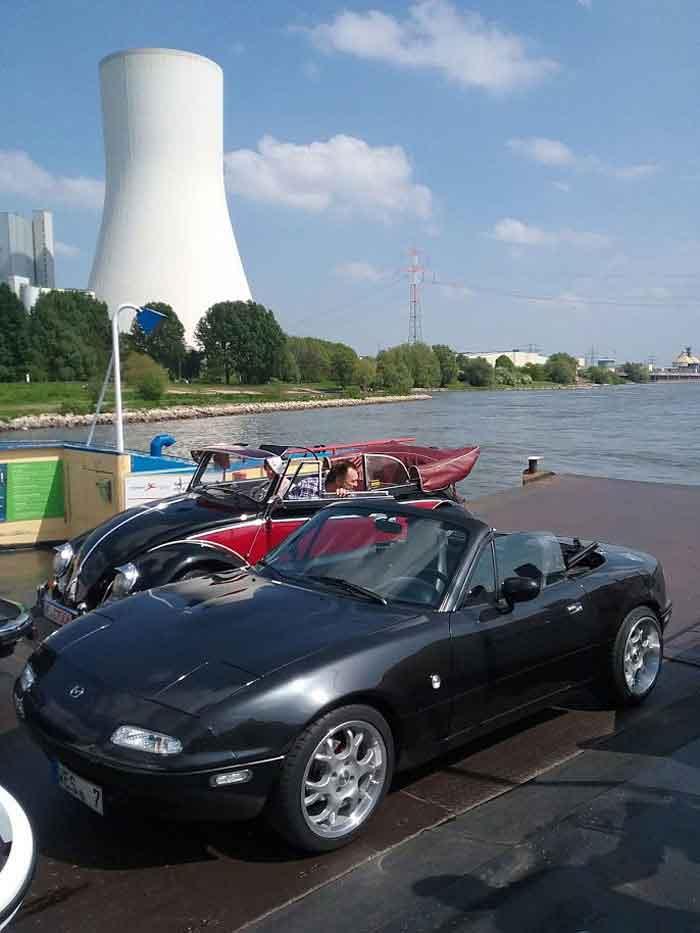 Überfahrt mit der Fähre in Orsoy über den Rhein