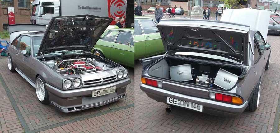 Opel Manta mit Soundanlage Kofferraum